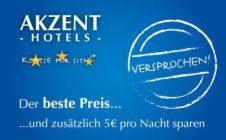 Bei Direktbuchung 5 € sparen - mit der AKZENT Hotels Stammgastkarte!